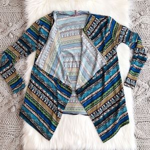 Blue geometric cardigan